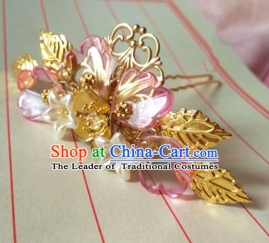 Chinese Traditional Ancient Hair Accessories Classical Hairpins Hanfu Brass Hair Stick Headwear for Women