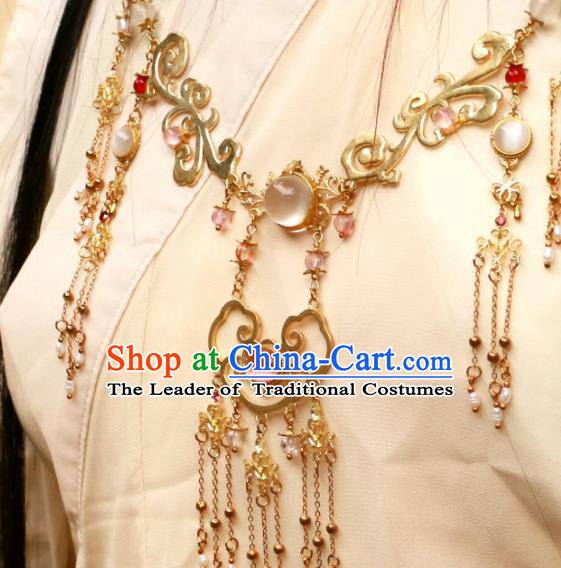 Chinese Traditional Ancient Accessories Classical Brass Necklace Hanfu Conophytum Pucillum for Women