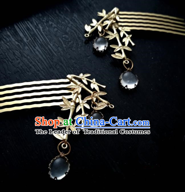 Chinese Traditional Ancient Hair Accessories Classical Brass Bamboo Hair Comb Hanfu Hairpins for Women