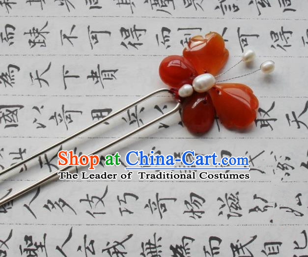 Chinese Traditional Ancient Hair Accessories Classical Red Agate Butterfly Hanfu Hairpins for Women