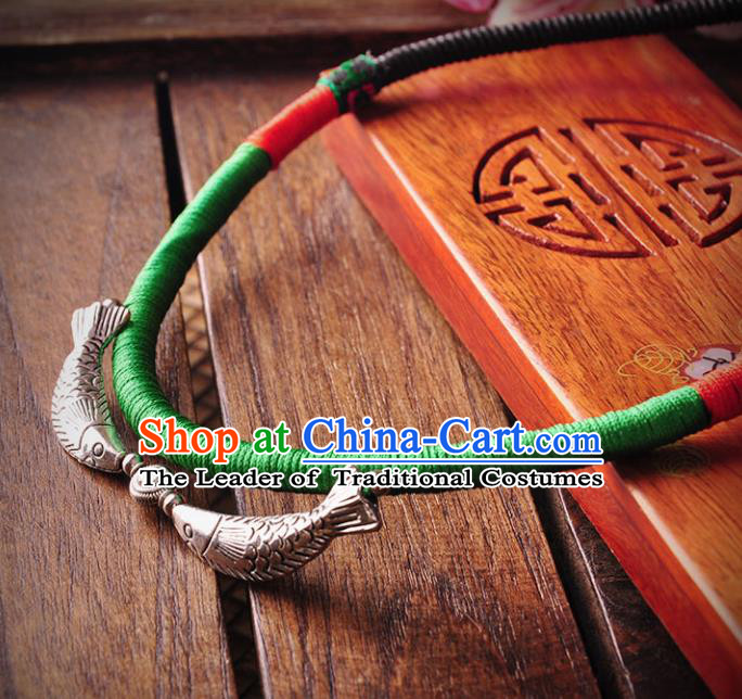 Chinese Traditional Embroidery Accessories Handmade Miao Sliver Fishes Necklace for Women
