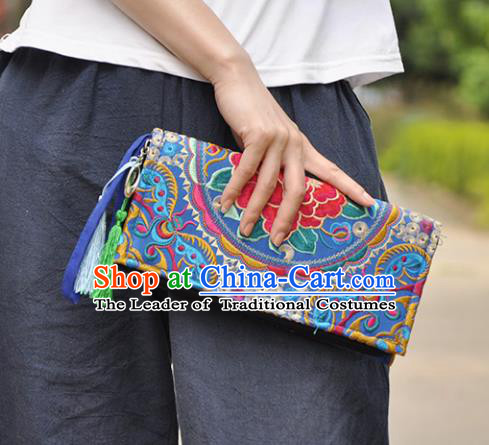 Chinese Traditional Embroidery Craft Embroidered Blue Purse Handmade Handbag for Women