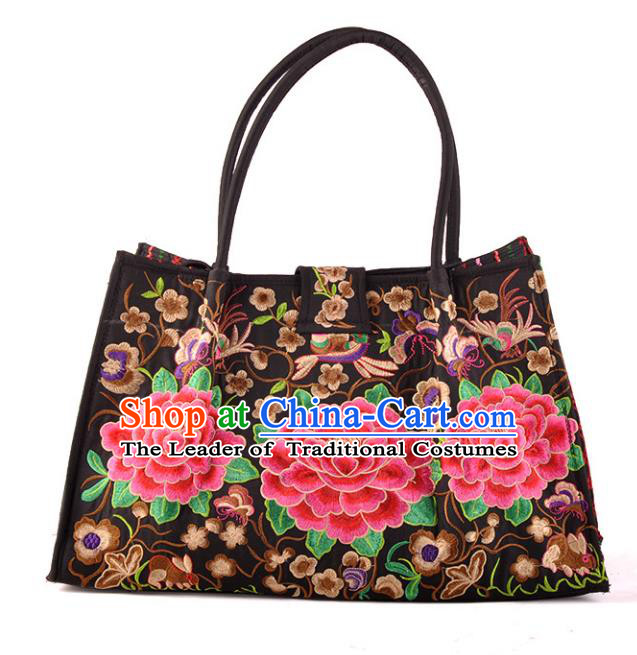 Chinese Traditional Embroidery Craft Embroidered Peony Bags Handmade Handbag for Women