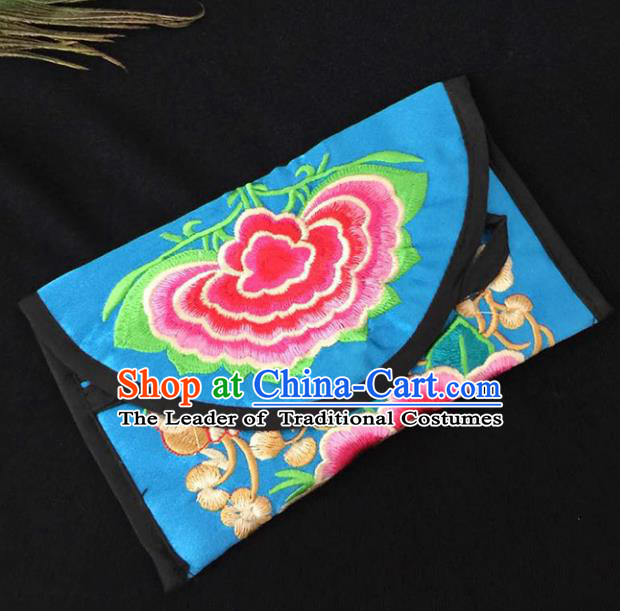 Chinese Traditional Embroidery Craft Embroidered Light Blue Bags Handmade Handbag for Women