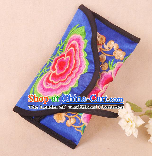 Chinese Traditional Embroidery Craft Embroidered Royalblue Bags Handmade Handbag for Women
