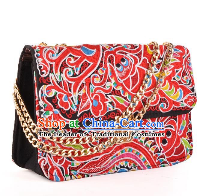 Chinese Traditional Embroidery Craft Embroidered Red Chain Bags Handmade Handbag for Women