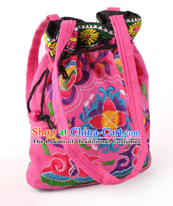 Chinese Traditional Embroidery Craft Embroidered Pink Pocket Bags Handmade Handbag for Women