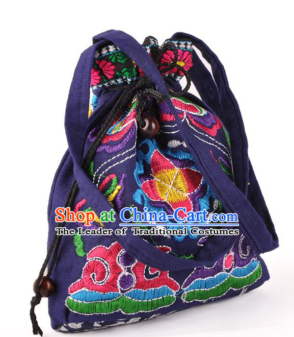 Chinese Traditional Embroidery Craft Embroidered Purple Pocket Bags Handmade Handbag for Women