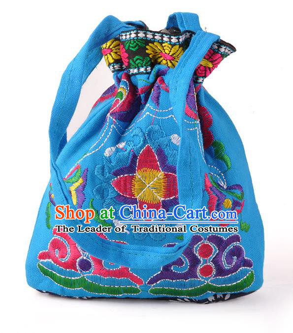 Chinese Traditional Embroidery Craft Embroidered Blue Pocket Bags Handmade Handbag for Women