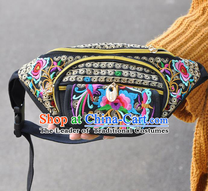 Chinese Traditional Embroidery Craft Embroidered Black Waist Bags Handmade Handbag for Women