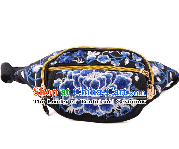 Chinese Traditional Embroidery Craft Embroidered Peony Waist Bags Handmade Handbag for Women