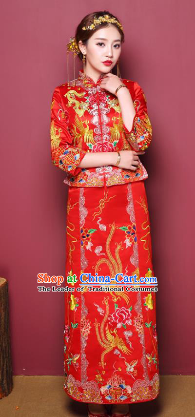 Chinese Traditional Wedding Costume Slim Dress Bottom Drawer, China Ancient Bride Embroidered Xiuhe Suits for Women