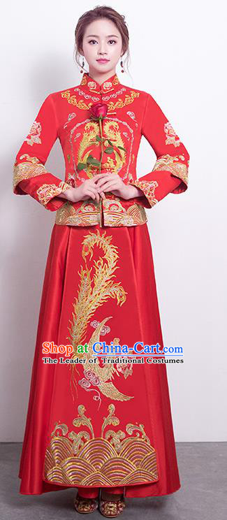 Chinese Traditional Bride Toast Clothing Embroidered Xiuhe Suits Ancient Bottom Drawer Wedding Costumes for Women