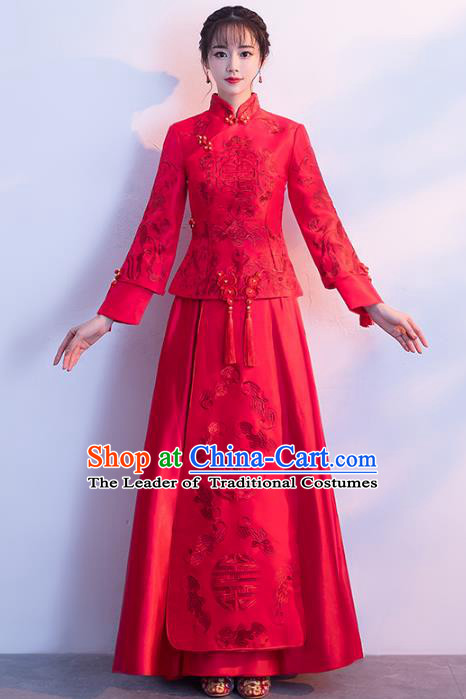 Chinese Traditional Red Xiuhe Suits Bride Toast Clothing Ancient Embroidery Bottom Drawer Wedding Costumes for Women