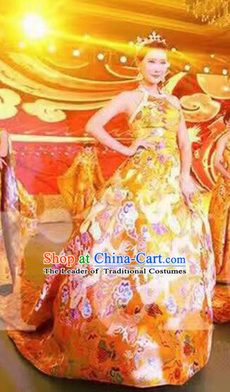 Top Grade Stage Performance Costumes China Style Catwalks Trailing Full Dress Modern Fancywork Clothing for Women