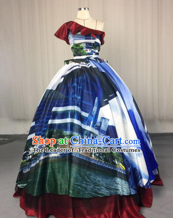 Top Grade Stage Performance Costumes Renaissance Catwalks Printing Full Dress Modern Fancywork Clothing for Women