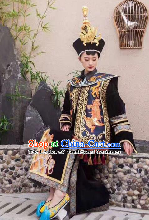 Top Grade Chinese Traditional Stage Performance Costumes Qing Dynasty Modern Fancywork Clothing and Headwear for Women
