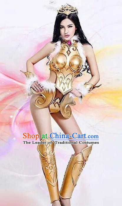 Top Grade Stage Performance Costumes Halloween Cosplay Modern Fancywork Golden Clothing and Headwear for Women