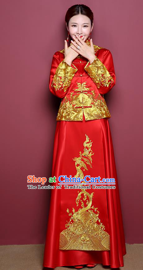 Chinese Ancient Wedding Costume Bride Red Dress, China Traditional Toast Clothing Delicate Embroidered Xiuhe Suits for Women