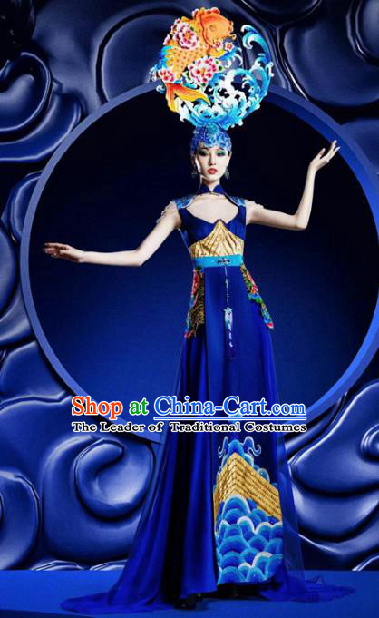 Top Grade Stage Performance Costumes China Style Modern Fancywork Blue Full Dress and Headwear for Women