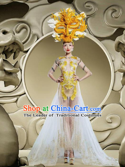 Top Grade Stage Performance Costumes China Style Modern Fancywork White Full Dress and Headwear for Women