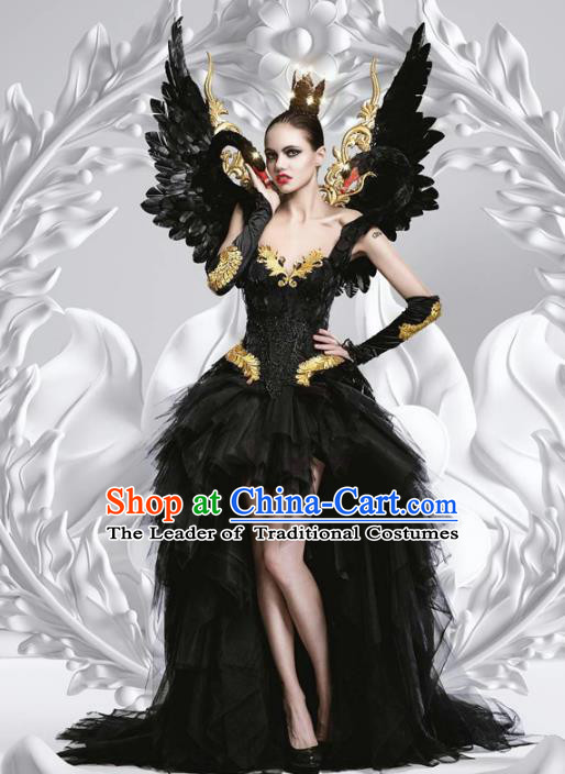 Top Grade Stage Performance Costumes Baroque Modern Fancywork Black Trailing Full Dress and Feather Wings for Women
