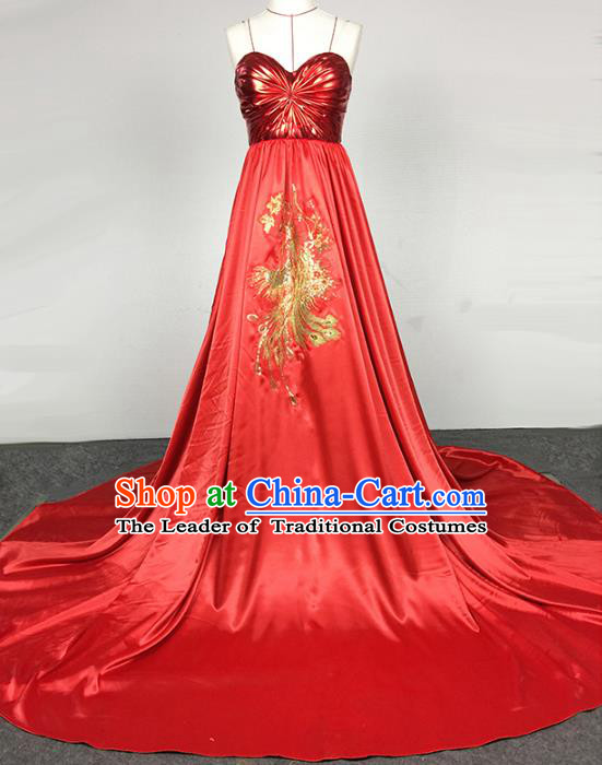 Top Grade Stage Performance Costumes China Modern Fancywork Red Full Dress for Women