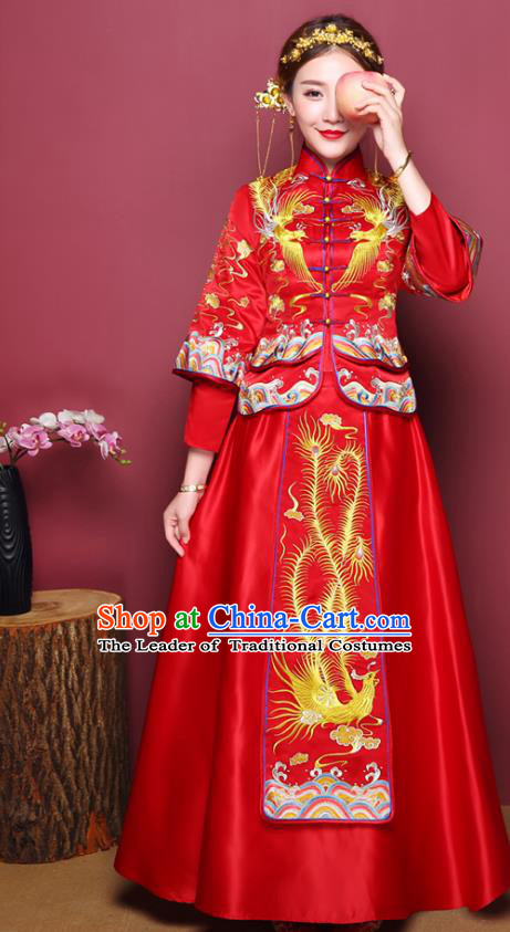 Chinese Ancient Wedding Costume Bride Red Dress, China Traditional Delicate Embroidered Toast Clothing Xiuhe Suits for Women