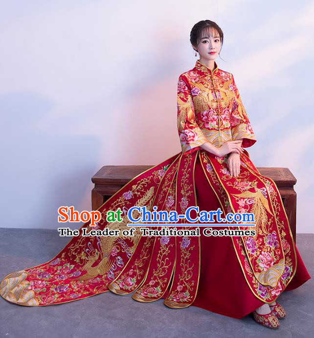 Chinese Traditional Xiuhe Suits Bride Trailing Full Dress Ancient Embroidered Phoenix Bottom Drawer Wedding Costumes for Women