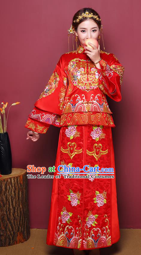 Chinese Ancient Wedding Costume Bride Delicate Embroidered Peony Dress, China Traditional Toast Clothing Xiuhe Suits for Women