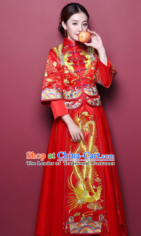 Chinese Ancient Wedding Costume Bride Delicate Embroidered Dress, China Traditional Toast Clothing Xiuhe Suits for Women