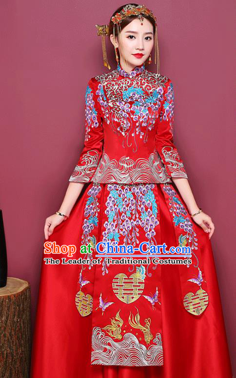 Chinese Ancient Wedding Costume Bride Toast Clothing, China Traditional Delicate Embroidered Dress Xiuhe Suits for Women