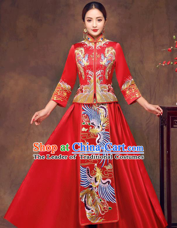 Chinese Ancient Wedding Costume Bride Toast Clothing, China Traditional Delicate Embroidered Phoenix Red Dress Xiuhe Suits for Women