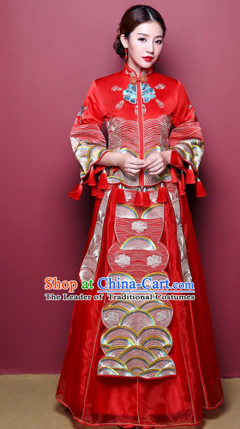 Chinese Ancient Wedding Costume Bride Finery Toast Clothing, China Traditional Delicate Embroidered Dress Xiuhe Suits for Women