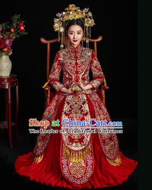 Chinese Ancient Wedding Costume Bride Hot Drilling Toast Clothing, China Traditional Delicate Embroidered Xiuhe Suits for Women
