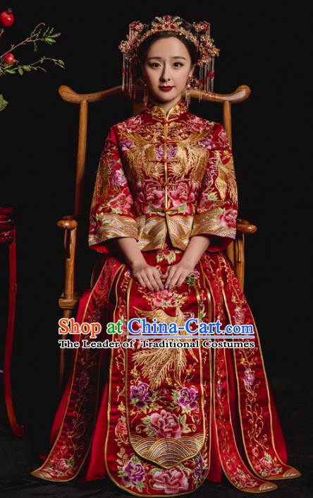 Chinese Traditional Embroidered Xiuhe Suits Ancient Bride Embroidery Phoenix Peony Wedding Costumes for Women