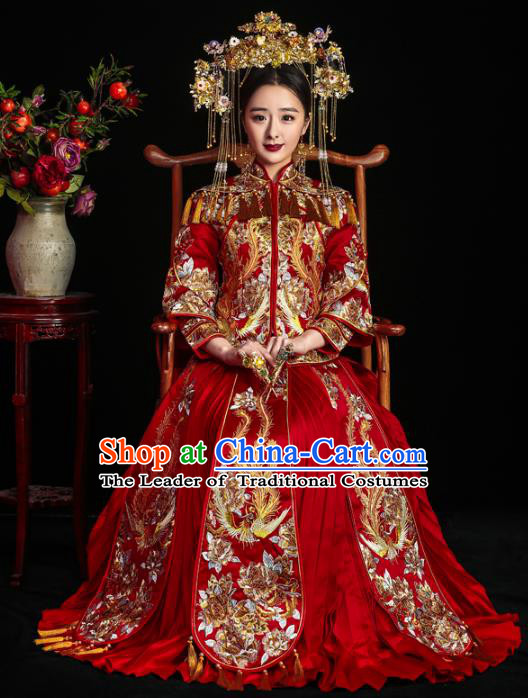 Chinese Traditional Embroidered Xiuhe Suits Ancient Bride Embroidery Bottom Drawer Wedding Costumes for Women