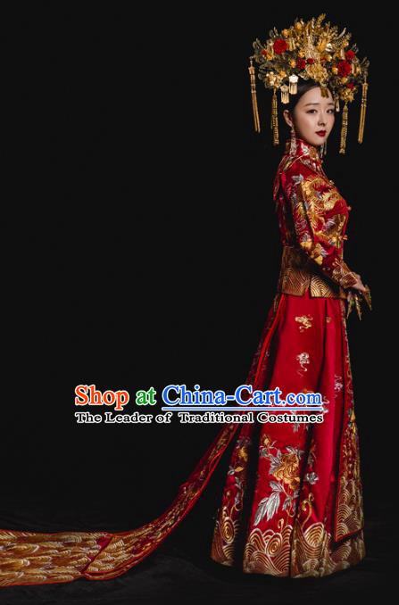 Chinese Traditional Trailing Xiuhe Suits Ancient Bride Embroidered Bottom Drawer Wedding Costumes for Women
