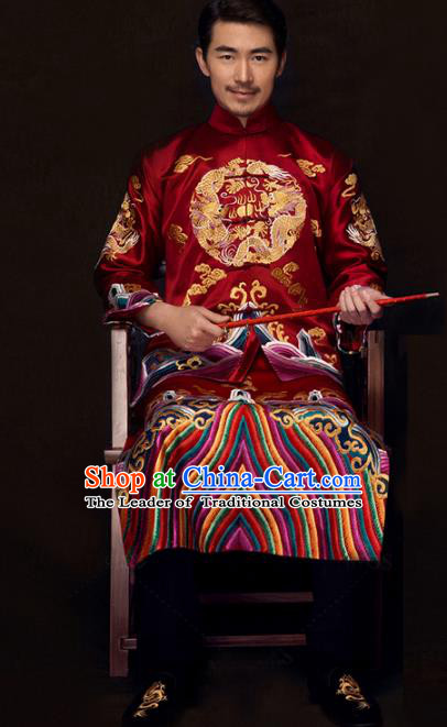 Chinese Traditional Embroidered Wedding Costume China Ancient Bridegroom Tang Suit Wine Red Gown for Men