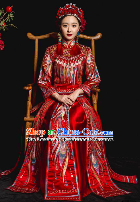 Chinese Traditional Red Xiuhe Suits Ancient Bride Embroidered Feather Bottom Drawer Wedding Costumes for Women