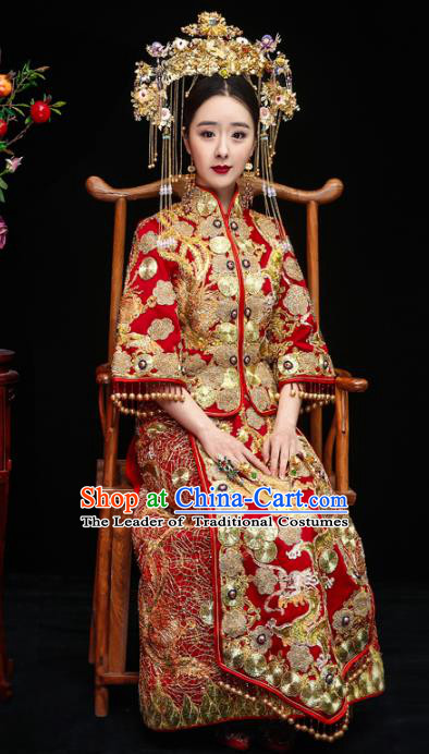 Chinese Traditional Toast Xiuhe Suits Ancient Bride Beading Embroidered Bottom Drawer Wedding Costumes for Women