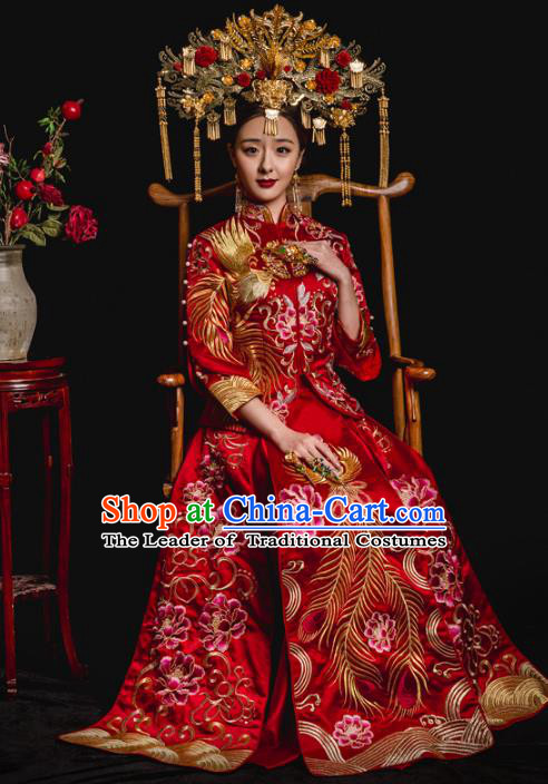 Chinese Traditional Toast Red Xiuhe Suits Ancient Bride Embroidered Phoenix Peony Bottom Drawer Wedding Costumes for Women