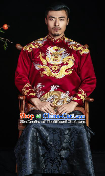 Chinese Traditional Embroidery Wedding Costume China Ancient Bridegroom Embroidered Tang Suit for Men