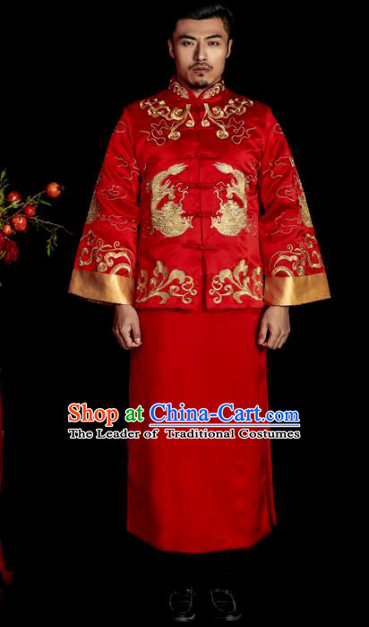 Chinese Traditional Wedding Costume China Ancient Bridegroom Tang Suit Red Gown for Men