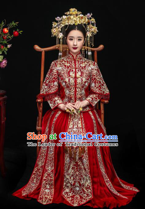 Chinese Ancient Bride Wedding Costume Embroidery Toast Clothing, Traditional China Delicate Embroidered Red Xiuhe Suits for Women