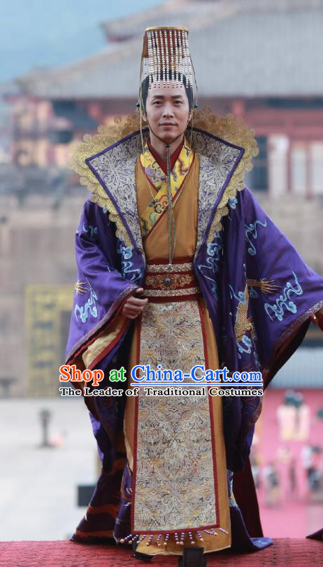 Chinese Ancient Tang Dynasty Emperor Xuanzong Lung-Chi Lee Embroidered Costumes and Headpiece Complete Set