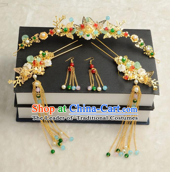 Chinese Ancient Classical Hair Accessories Xiuhe Suit Hair Sticks Hair Jewellery Hairpins Complete Set for Women