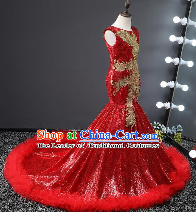Children Stage Performance Costumes Embroidered Phoenix Red Evening Dresses Modern Fancywork Full Dress for Kids