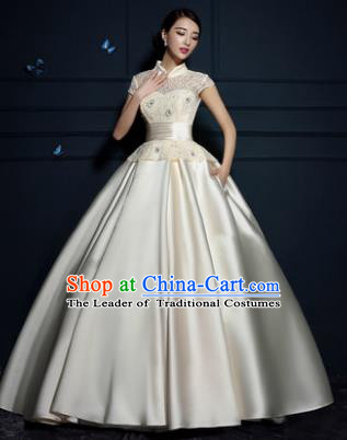 Top Grade Advanced Customization Wedding Dress Champagne Satin Bridal Full Dress Costume for Women