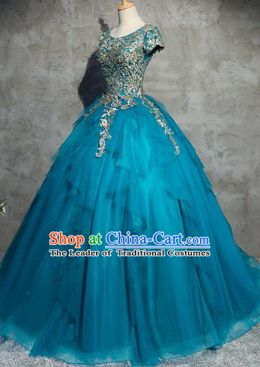 Top Grade Advanced Customization Wedding Dress Chorus Blue Dress Bridal Veil Full Dress Costume for Women